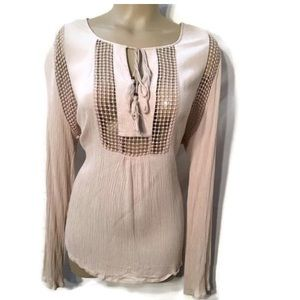 Joseph A Tan Long Sleeve Netted Peasant Top L